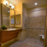 handicapped accessible bathroom sink and shower