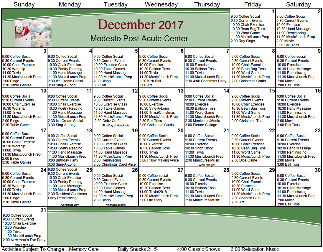 Modesto Post Acute December memory care activity calendar