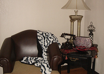 brown leather chair with zebra throw blanket and an antique phone displayed