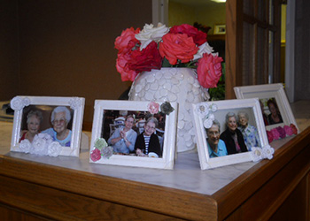 pretty display of flowers and personalized photos
