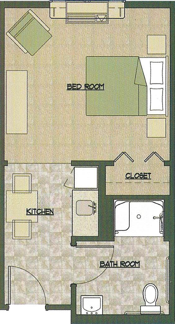 Kitchen 53 X 113 Living Room Bedroom 13 12 Closet 27 52 Bathroom 6 73 Total 23 Or 276 Square Feet