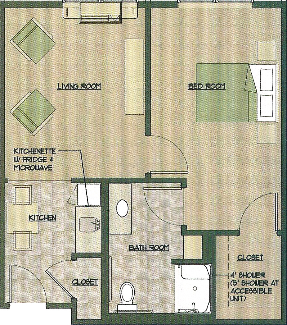 One Bedroom Floor Plan Click Here For Larger View Unit Measurements Kitchen 6 X 10 Living Room 11 36 104 176