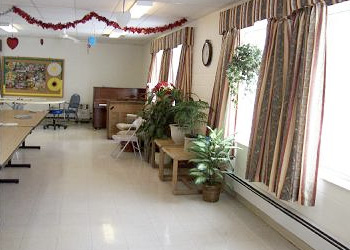 Recreation room decorated for Valentine's Day