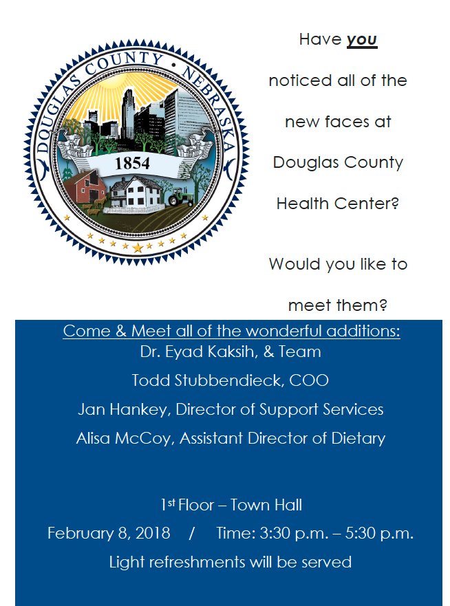 Meet and Greet flyer for new staff at Douglas County