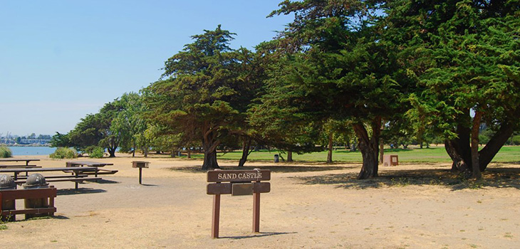 Beautiful park by the shore of San Francisco Bay with BBQ's and picnic tables