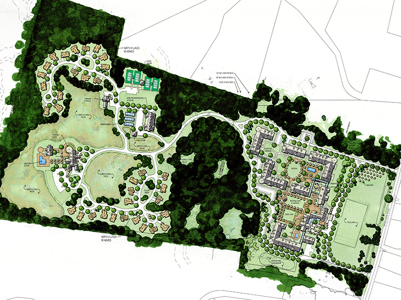 mock up drawing of aerial view of project upon completion