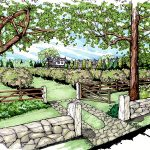 mock up drawing of stone front entrance and gate