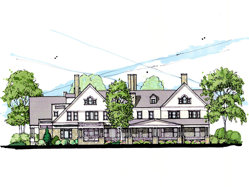 mock up drawing of the mansion upon completion