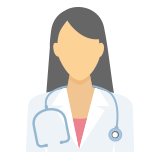 A doctor with a stethoscope around her neck icon