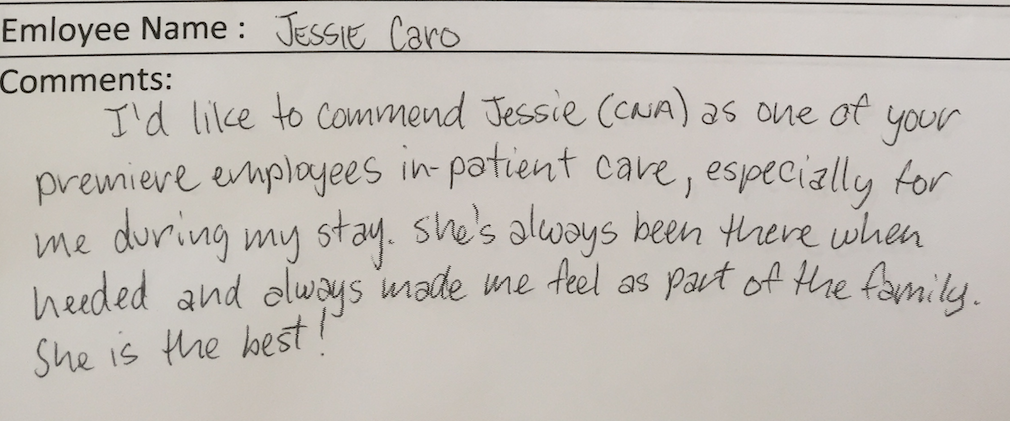 Testimonial about Jesse, CNA who was always there when this patient needed her