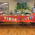 getting ready for the luau party