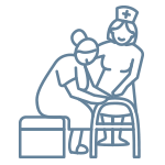 Nurse helping a resident to her feet icon