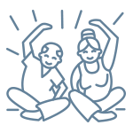 Two people doing an activity together icon