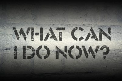 61918717 - what can i do now question stencil print on the grunge white brick wall