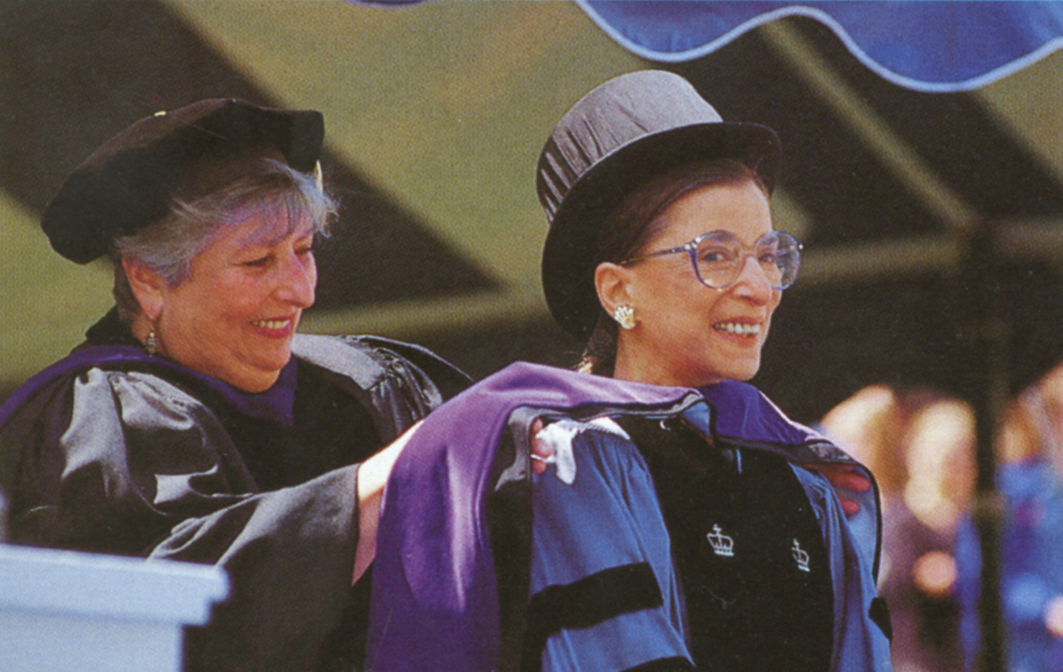 Ruth Bader Ginsburg receiving honorary doctorate from Provost Hannah Goldberg