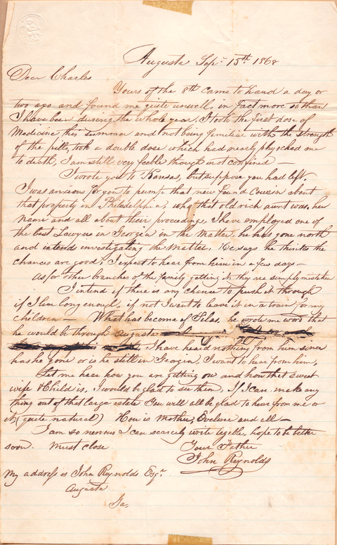 Sep 15 1868 John Reynolds to Charles W Reynolds