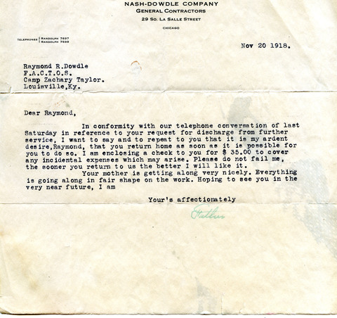 John Dowdle letter to Raymond R. Dowdle (1918)