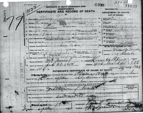 Mary Tranchina death certificate