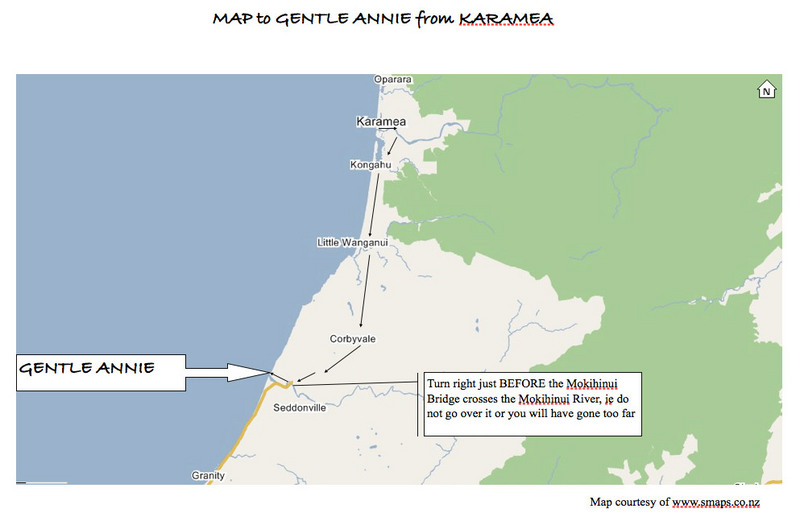 Directions to Gentle Annie from Karamea