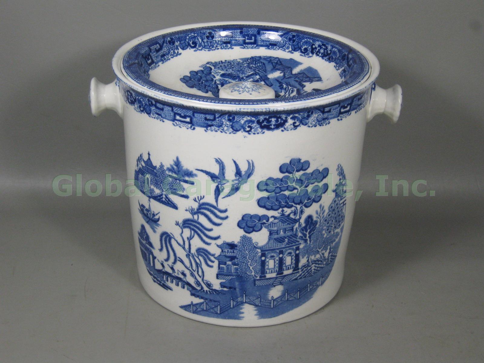 Vtg antique ridgway blue willow slop jar pail bucket - Pot de chambre antique ...