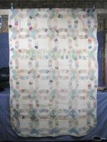 Early Vtg Primitive Antique Handmade Double Wedding Ring Pieced Patchwork Quilt