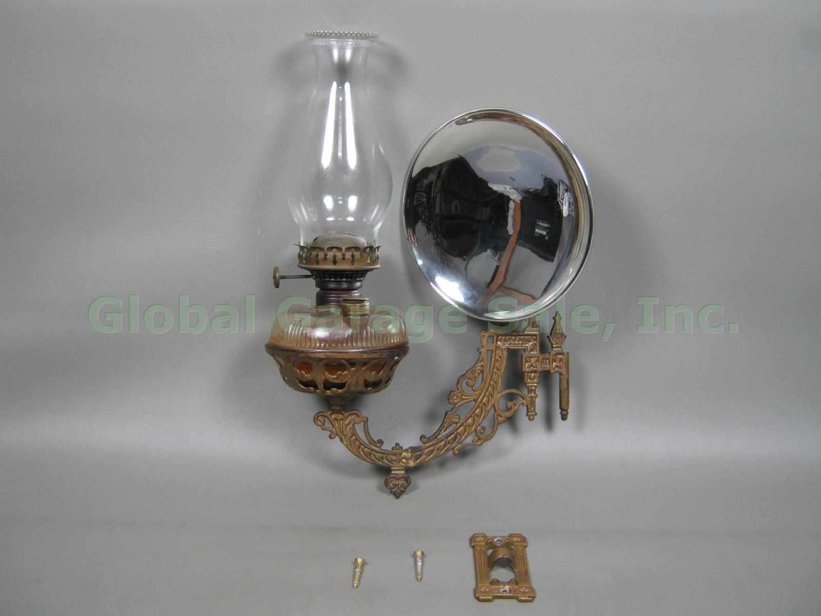 Bradley Hubbard Cast Iron Oil Kerosene Lamp Sconce Reflector + Wall Bracket 1881 eBay