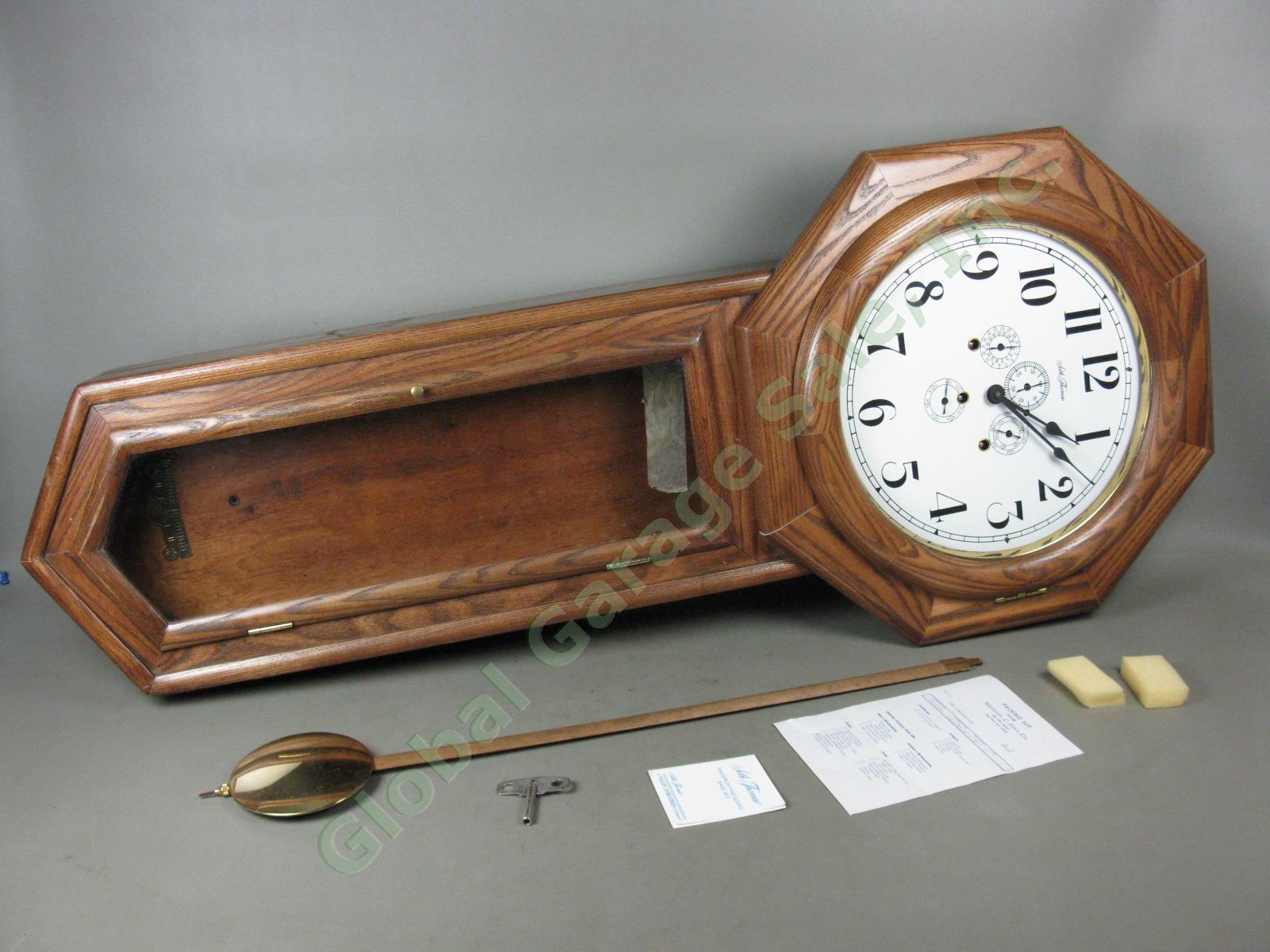 seth thomas wooden long drop octagon chime calendar