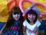 Ballon hat and face painting