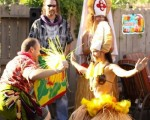 Liho Liho has fun with a guest at back yard luau!