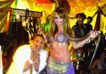 "ANNA WITH DON OMAR ON THE SET FOR VIDEO ""SOLEO SOL"""