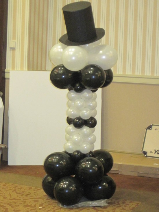 Formal black tie top hat balloon column