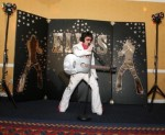 Bay Area Elvis Impersonator Rick Torres performing in front of Aloha Backdrop! Available for your event!