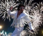 Bay Area Elvis Impersonator and Tribute Artist Rick Torres wearing the &quot;White Rope Fringe&quot; performing at Hot August Nights!