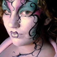 Chelle beautiful face and body painting - Balloon Twister in Bellingham, Washington