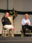 Chet and Jim McDoniel speak at a church