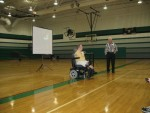 Chet and Jim McDoniel speak at a middle school