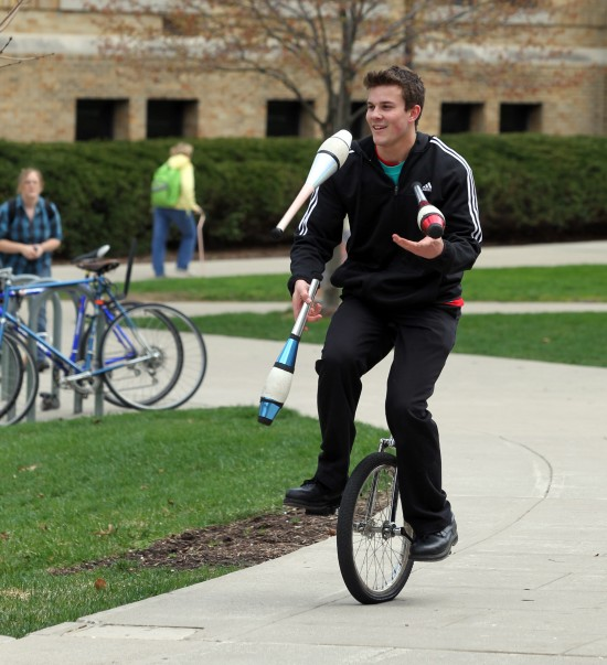 Unicycle Juggling at BG