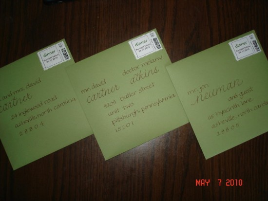 Specialty Font on Green Envelopes