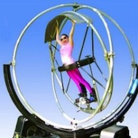 Human Gyroscope- Gyrotron - Carnival Rides Company / Sports Exhibition in Long Island, New York