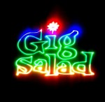 Gig Salad logo projected in laser