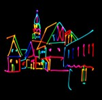 European town abstract done with lasers