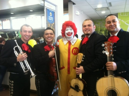 Mariachi and Ronald McDonald for the McDonalds Opening