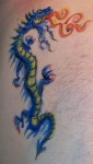 Flaming Blue Dragon Temp Tattoo