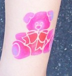Pink Teddy Bear Temporary Airbrush Tattoo