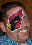 Face Painting Cardinal Eye Billy Freer painted by Nancy Kartoon