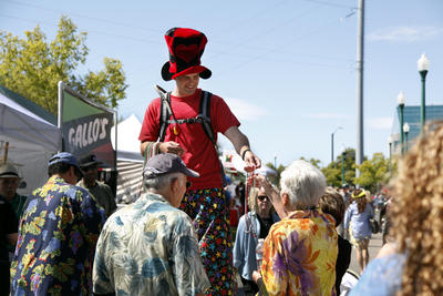 Stilt Walking And Passing Out Beads @ 30th Annual Italian festa!