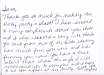 thank you note from Kirby Kangaroo party