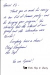 thank you note from Faith Hope and Charity residential and community services organization