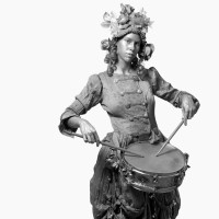 The Silver Drummer Girl - Mime in Spartanburg, South Carolina