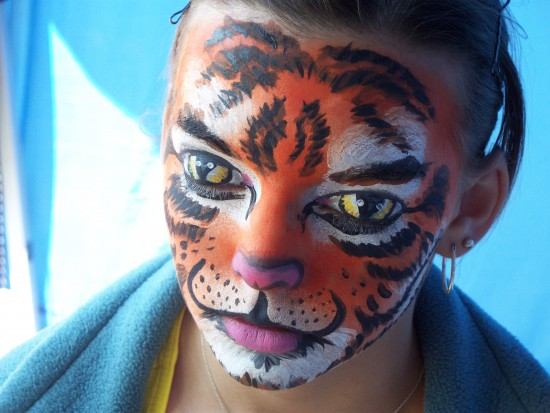 Tiger W/Eyes Painted Over Eyelids